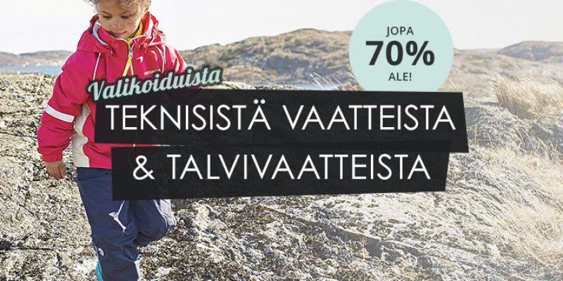 Lasten tekniset vaatteet: -70 % ale, Reima Didriksons & Kuling!