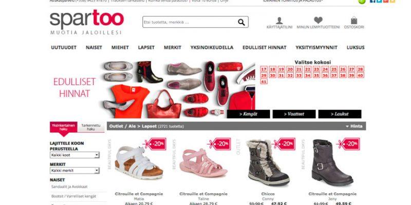 Spartoo – edullisia kenkiä Outletissa, nyt myös lastenvaatteita